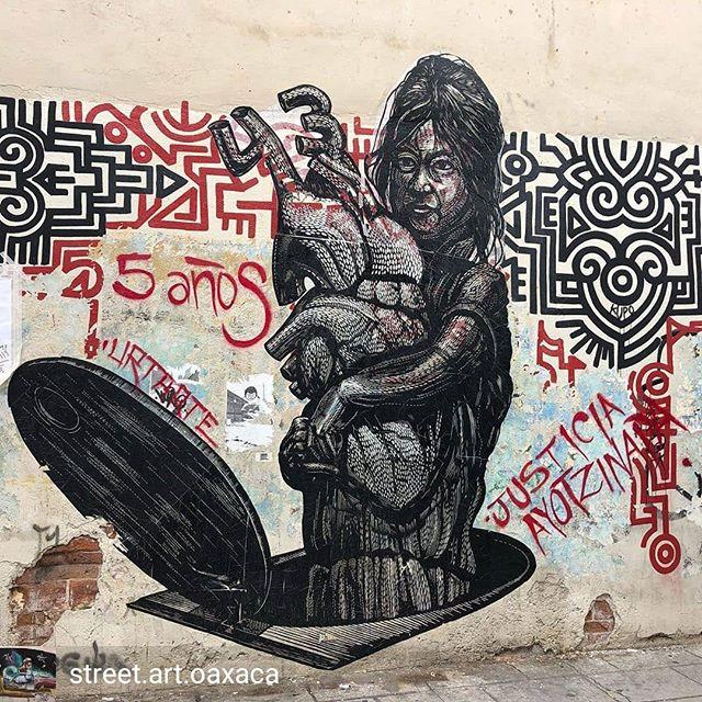 Repost de @street.art.oaxaca -  5 años de la desaparición de 43 estudiantes, y no son los únicos desaparecidos @urtarte_oaxaca Gracias por hacer visible lo invisible 🏽