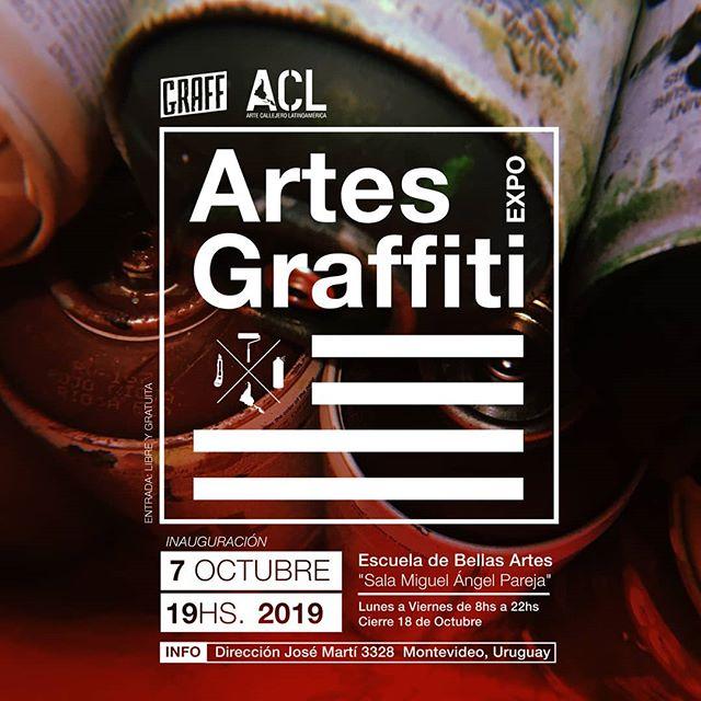 """.Exposición """"Artes Graffiti""""Montevideo - Uruguay.El graffiti llega al Bellas Artes.Obras originales y fotografías de Uruguay@thepo333 @junklife._ @98.par @soy.dinamita @plague__ink @guustos @juanconde2 @rusqa_graff @geda_grapixografia @bersa_1 @triple7tattoostudio @erreismo @toomuchshelki@_tuts3 @siembra.art @savas_bja @jaencds @drope.nst @stpkd @atiliogut @7e_yasabe @fabi_antz @seaseconese @graffmvd.Y una selección de fotos de graffiti de@pixo_acao (Brasil)@archivo.graffiti.baires @borylz @vatutano (Argentina)@caminantecosmico (Chile)@livroxarpi (Brasil)@ecstreetgallery (Ecuador).Con música de@aguromano_.Inauguración Lunes 7 de Octubre 19hsEscuela de Bellas ArtesSala """"Miguel Ángel Pareja""""Dirección Jose Martí 3328, Montevideo.Lunes a Viernes de 8hs a 22hsCierre 18 de Octubre.Organiza:@graffmvd y@arte.callejero.latinoamericaTodxs Invitadxs!"""