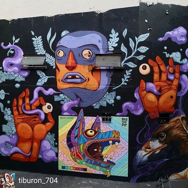 Repost de @tiburon_704 -  Sabroso fin de semana con los malandros del ritmo y el guaguancó. Colaboración con los capos @seba_bastardo @sakeink @sbuone en compañía del buen @davidrochart durante la edición de éste año del @mos_mex sobreviviendo la cruda.#mural #art #collaboration #illustration #graffiti #jam #MolotowMx #meetingofstyles #CDMX #Regina #Centro #TVRN #quieroserpopular #hangover